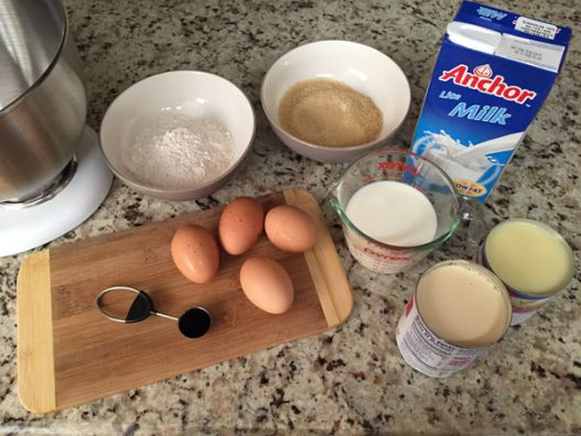 Ingredientes para el pastel de Tres Leches